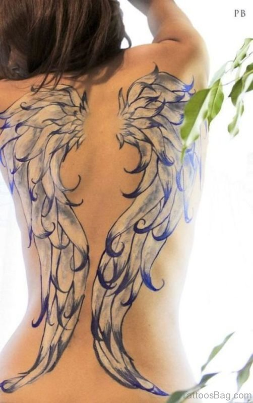 Colorful Memorial Angel Tattoo