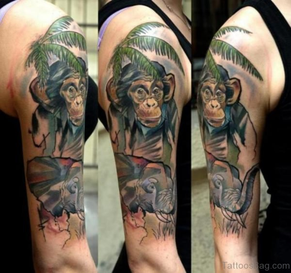 Colorful Monkey And Elephant Tattoo