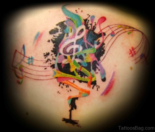 Colorful Music Tattoo On Back