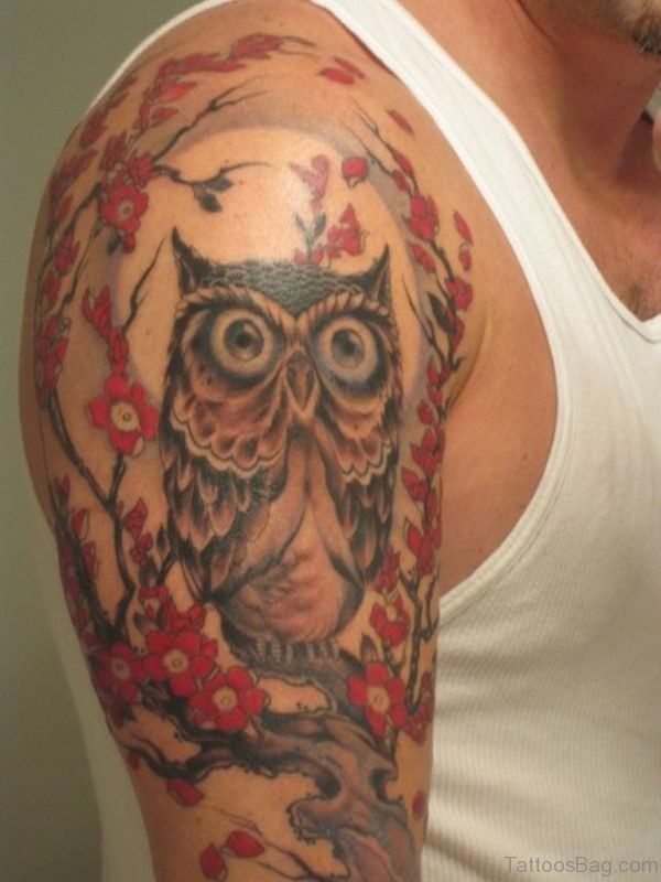 Colorful Owl Flower Tattoo Design