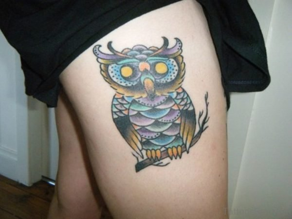 Colorful Owl On Thigh