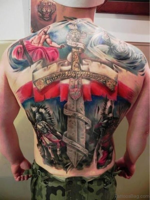 Colorful  Patriotic Tattoo On Full Back