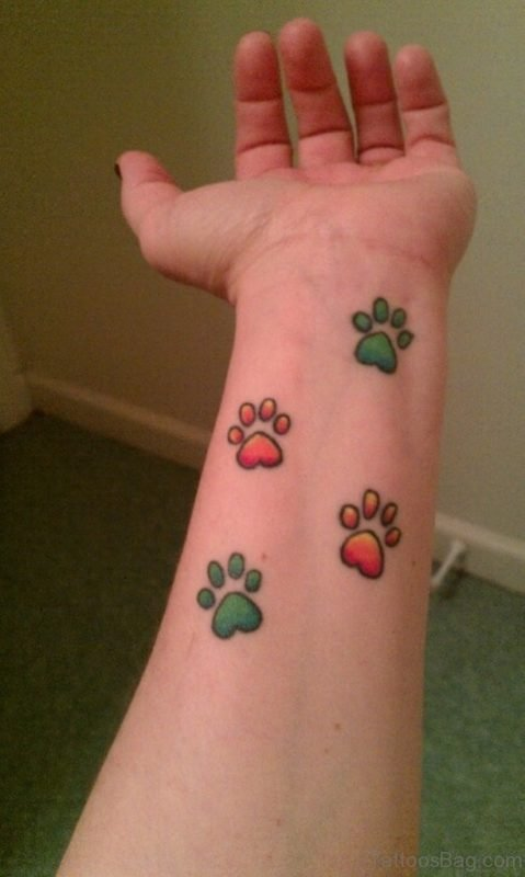 Colorful Paw Tattoo