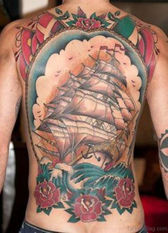 Colorful Ship Tattoo Design