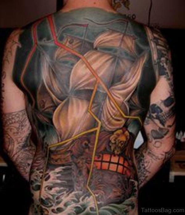 Colorful Ship Tattoo On Whole Back