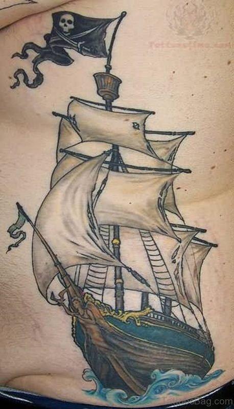 Colorful Ship Tattoo