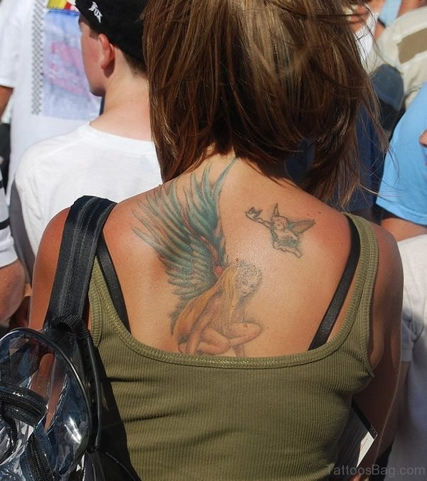 Colorful Shoulder Tattoo Of Angel