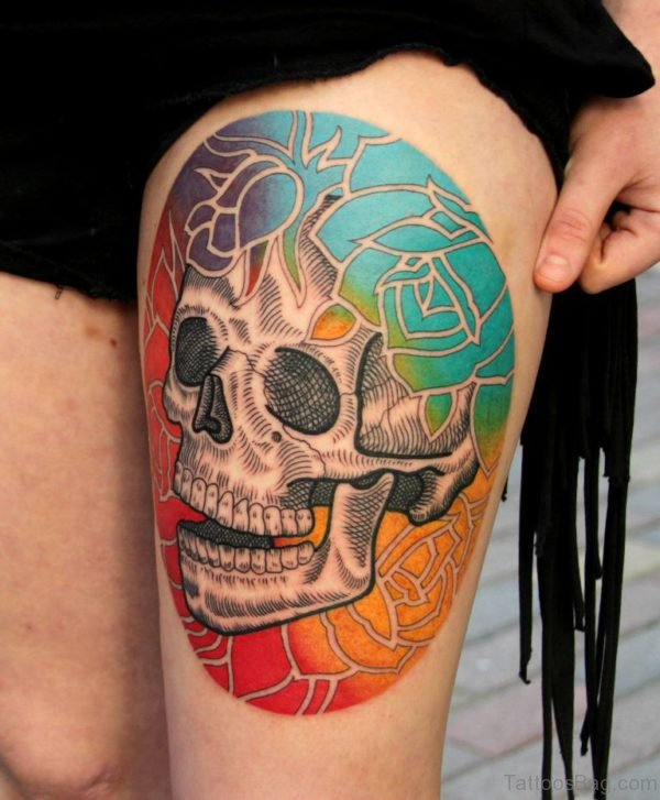 Colorful Skull Tattoo Design