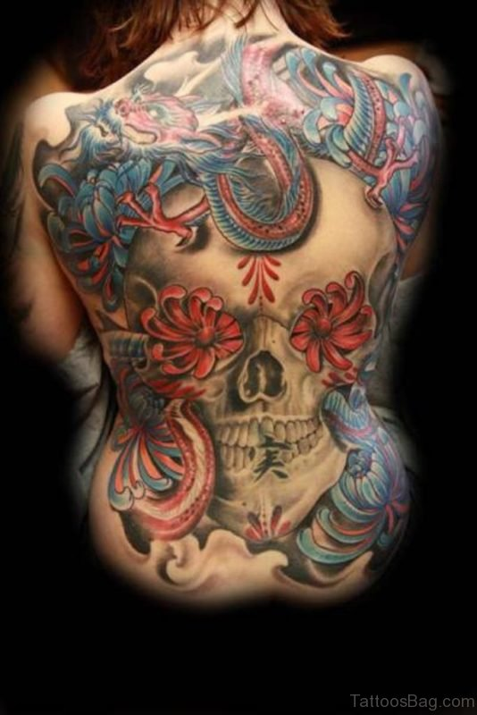 Colorful Skull Tattoo On Back