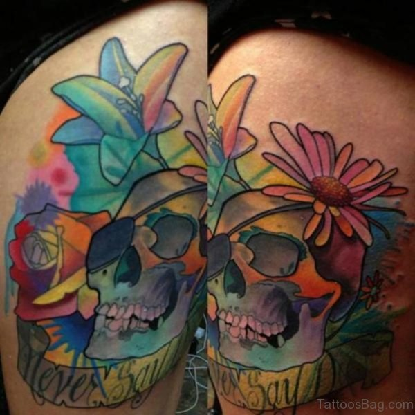 Colorful Skull Tattoo On Thigh