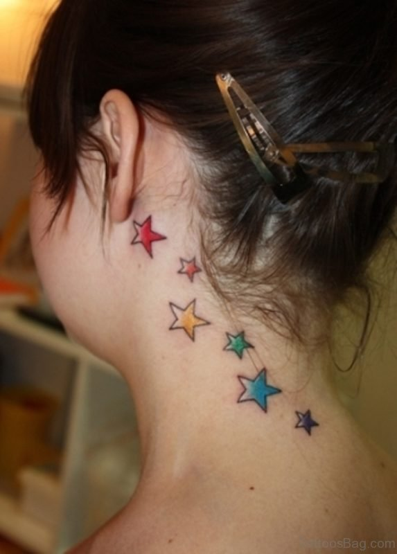 Colorful Stars Tattoo For Women