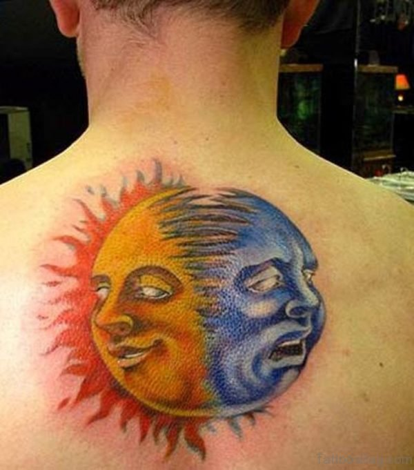 Colorful Sun Tattoo On Back