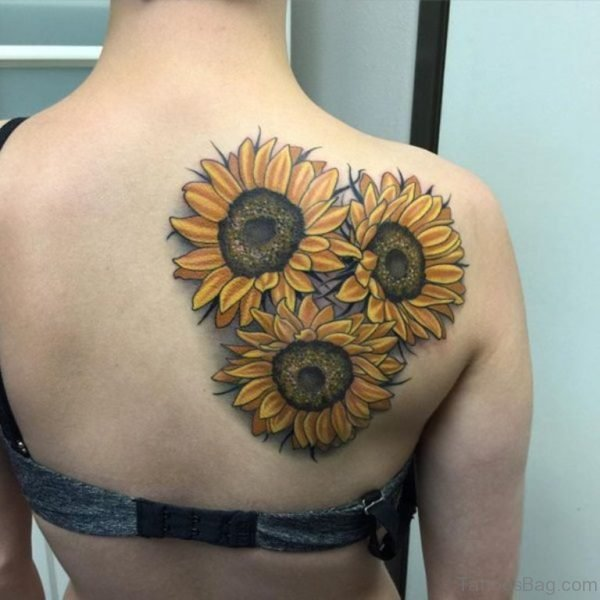Colorful  Sunflower Tattoo On Back