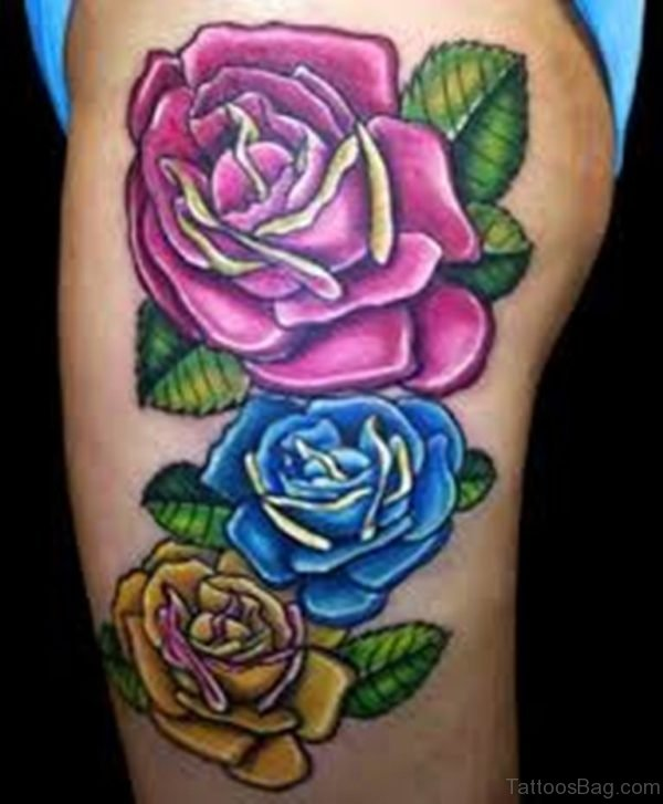 Colorful Three Rose Flowers Tattoo