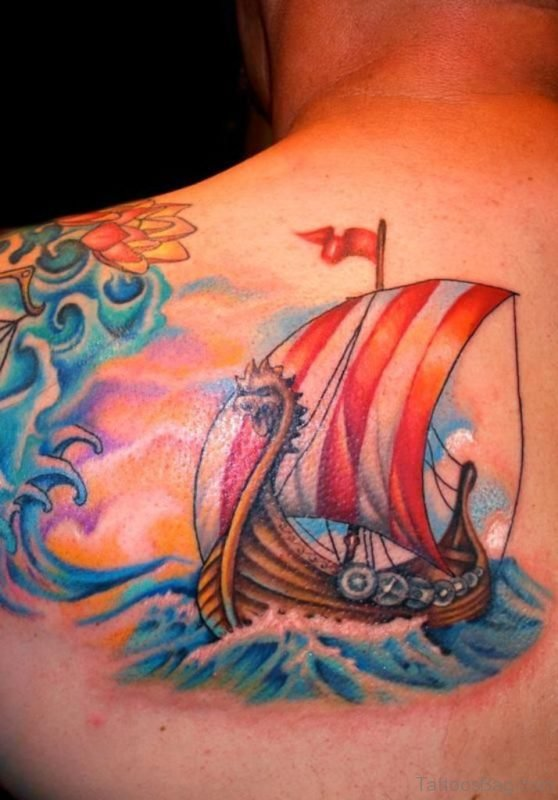 Colorful Viking-Ship Tattoo On Left Shoulder