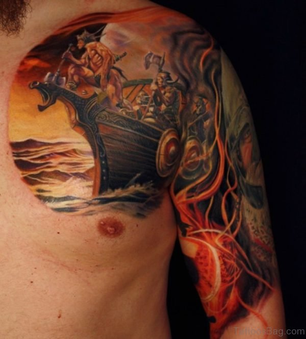 Colorful Viking Ship Tattoo