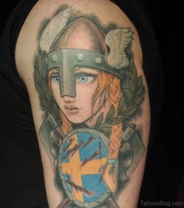 Colorful Viking Shoulder Tattoo