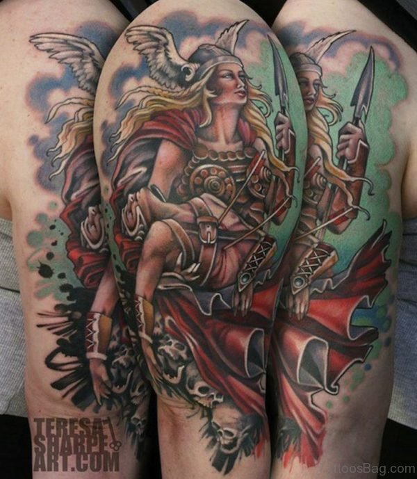 Colorful Viking Tattoo Design