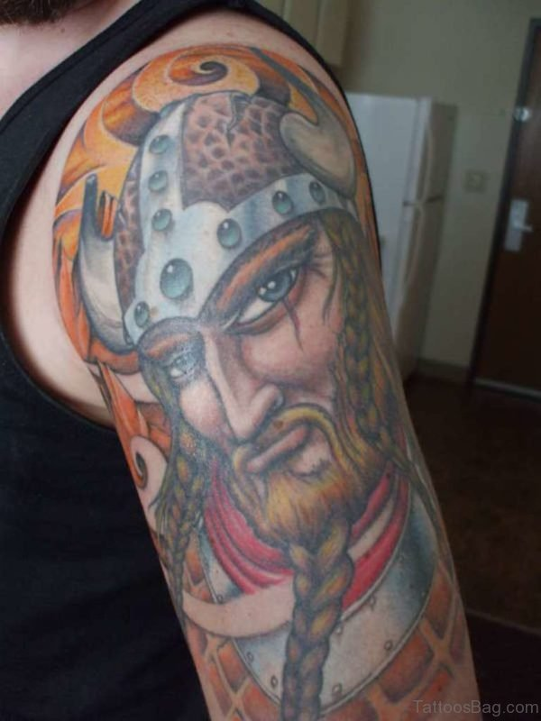 Colorful Viking Tribal Tattoo Design