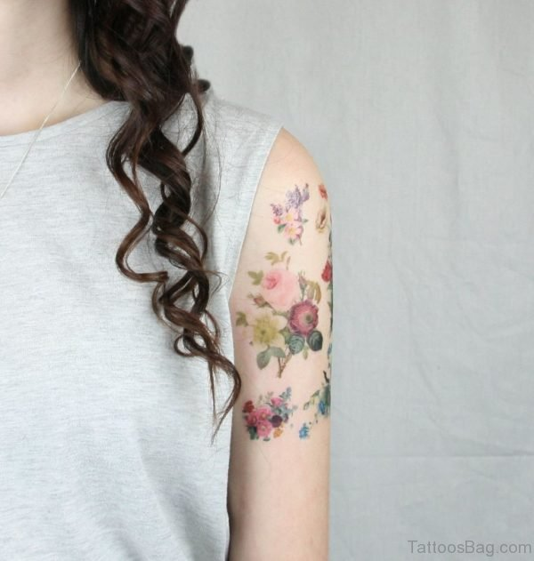 Colorful Vintage Flower Tattoo Design