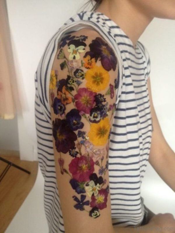 Colorful Vintage Flower Designer Tattoo