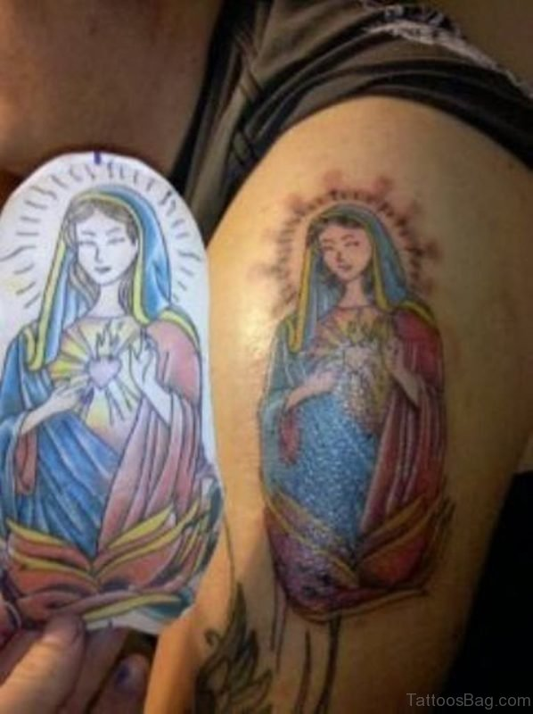 Colorful Virgin Mary Tattoo