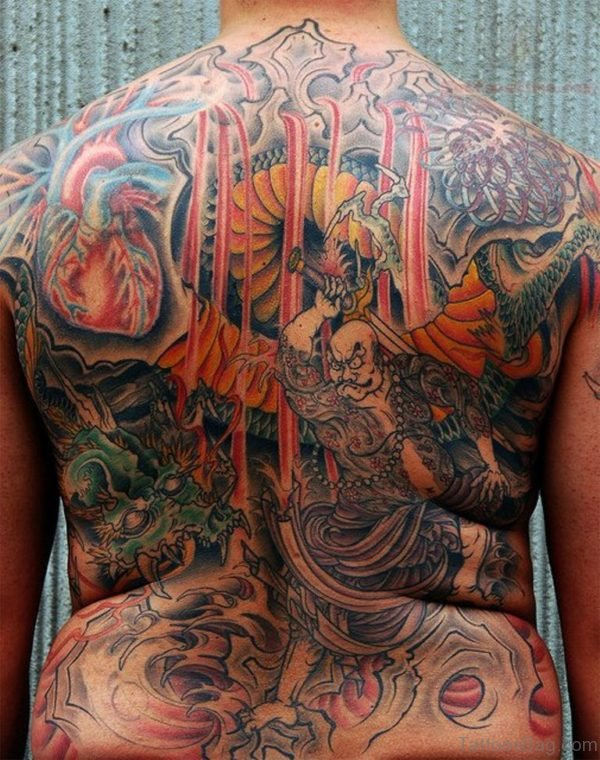 Colorful Warrior Tattoo On Back