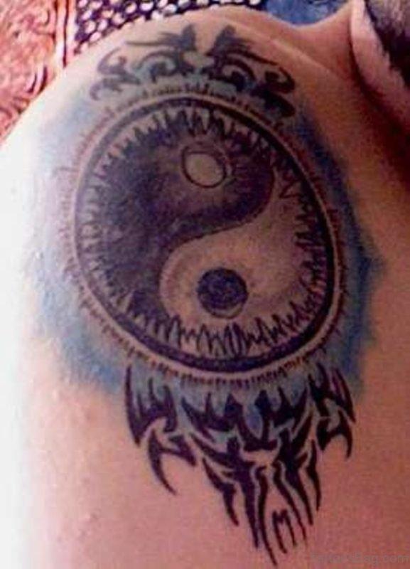 Colorful Yin Yang Shoulder Tattoo