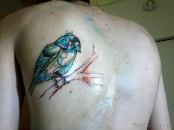 Colorful Bird Tattoo On Upper Back