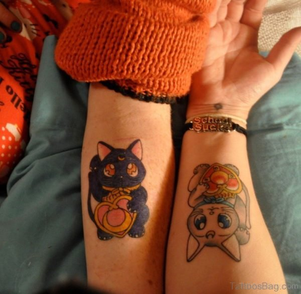 Colorful  Cat Tattoo On Wrist