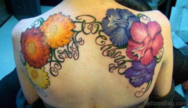 Colorful Flower  Back Tattoo