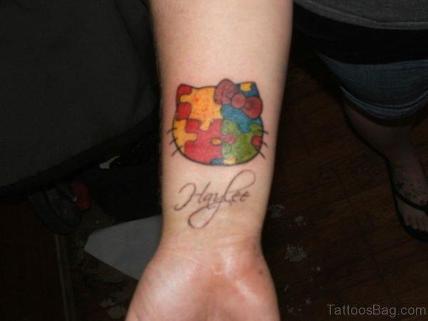Colorful kitty Wrist Tattoo