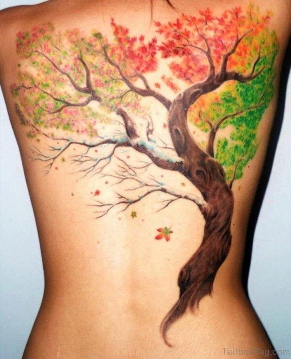 Colorful Leaf Tattoo