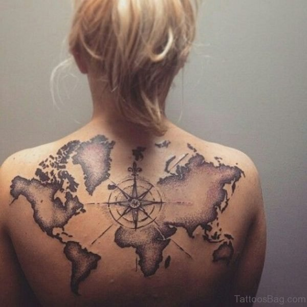 Compass And Map Tattoo On Woman's Back