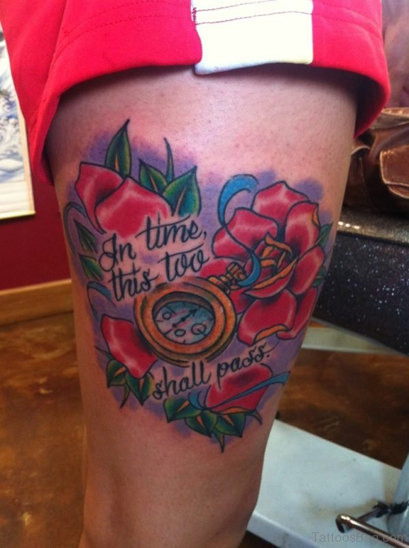 Compass & Red Rose Tattoo On Thigh