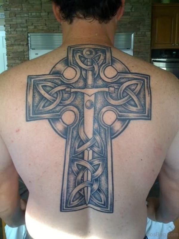 Cool Celtic Cross Tattoo On Back