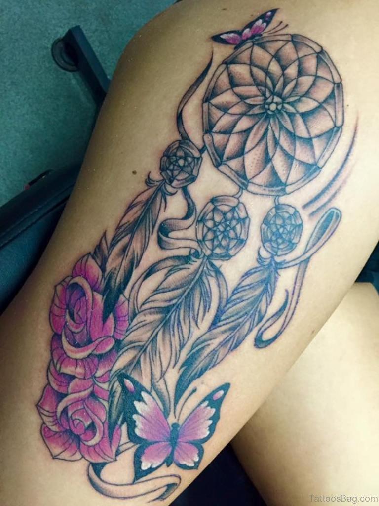 Lavender Flower Dream Catcher Tattoo: 78 Graceful Dreamcatcher Tattoos On Thigh