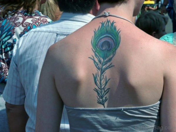 Cool Feather Tattoo On Back