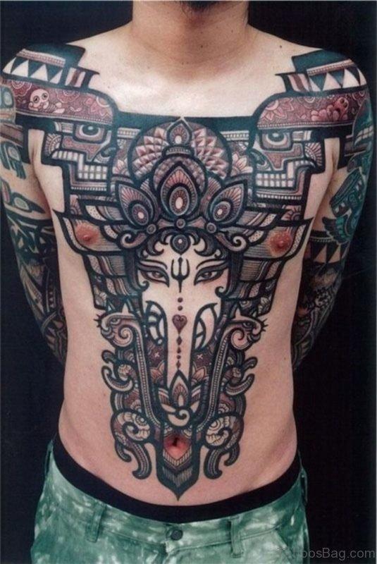 Cool Ganesha Chest Tattoo