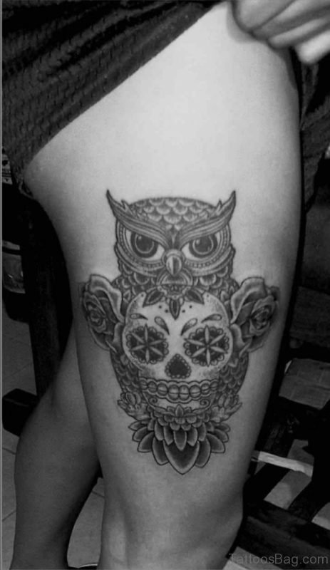 Cool Grey Ink Owl And Skull Tattoo