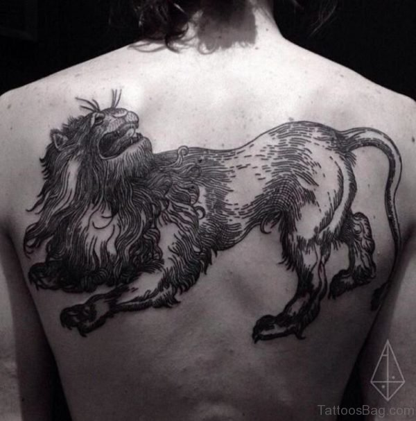Cool Lion Tattoo On Back