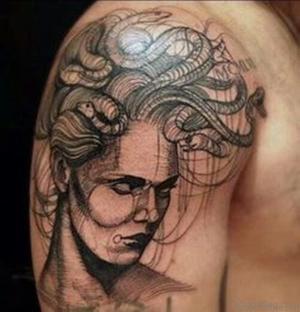 Cool Medusa Tattoo On Shoulder