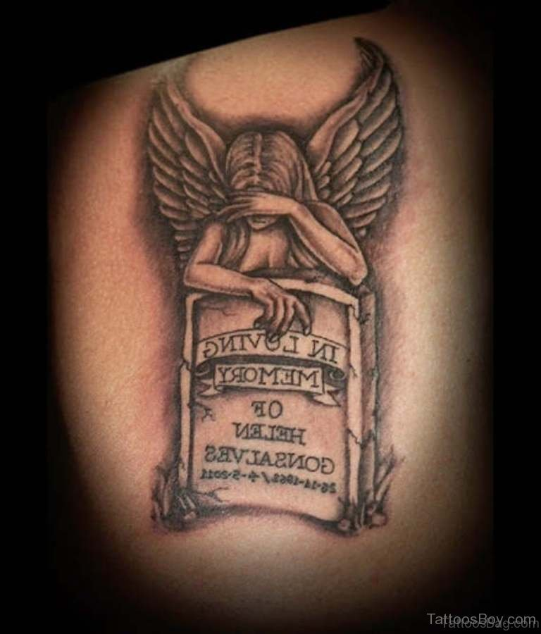 60 most amazing memorial angel tattoos for back. Black Bedroom Furniture Sets. Home Design Ideas