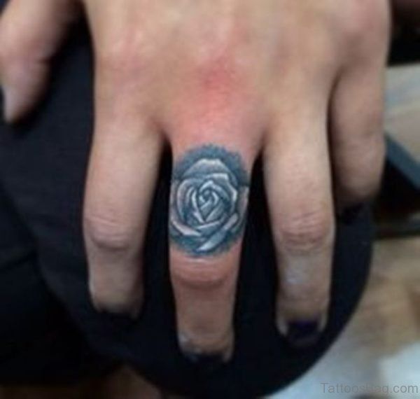Cool Rose Tattoo On Finger