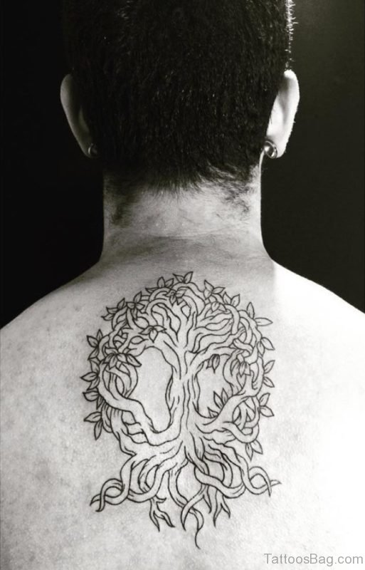 Cool Tree Tattoo Design On Back