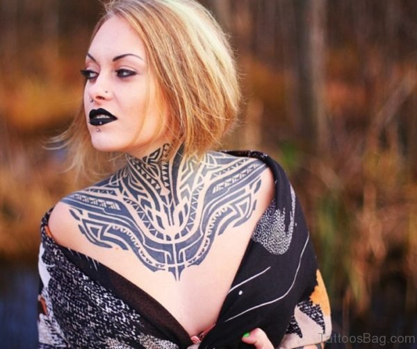 Cool Tribal Neck Tattoo For Women