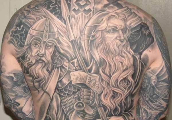 Cool Viking Tattoo On Back