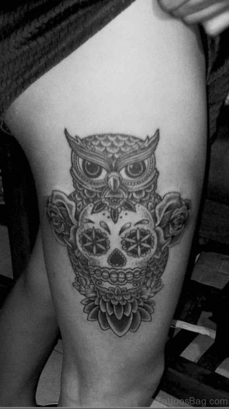 Grey Ink Owl Tattoo