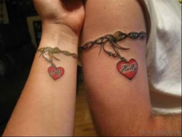 Couple Heart Band Tattoo