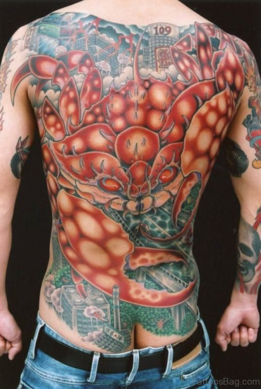 Crab Tattoo On Full Back